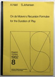 On de Moivres Recursion Formulae for the Duration of Play -